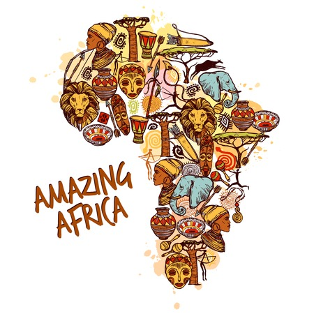 Illustration for Africa concept with sketch african symbols in continent shape vector illustration - Royalty Free Image