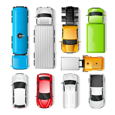 Illustration pour Realistic cars and trucks top view set isolated vector illustration - image libre de droit
