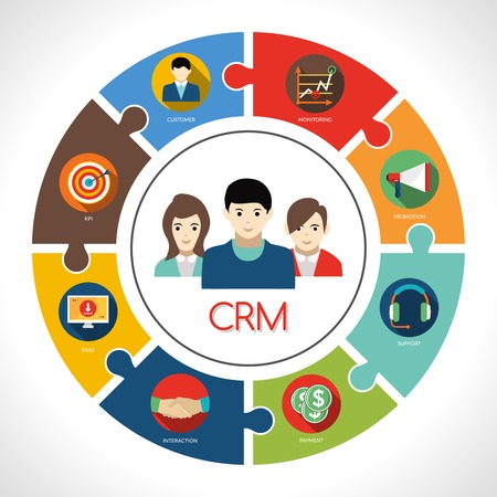 Ilustración de Crm concept with customers avatar and clients management symbols vector illustration - Imagen libre de derechos
