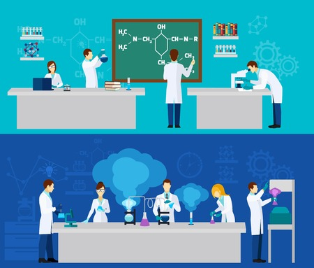 Illustration pour Scientist horizontal banner set with people in chemistry lab isolated vector illustration - image libre de droit