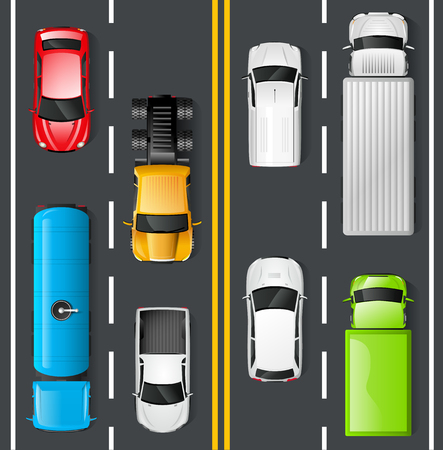 Illustrazione per Highway traffic concept with top view cars and trucks on asphalt road vector illustration - Immagini Royalty Free