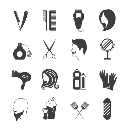 Illustration pour Hairdresser and beauty salon black and white icons set isolated vector illustration - image libre de droit