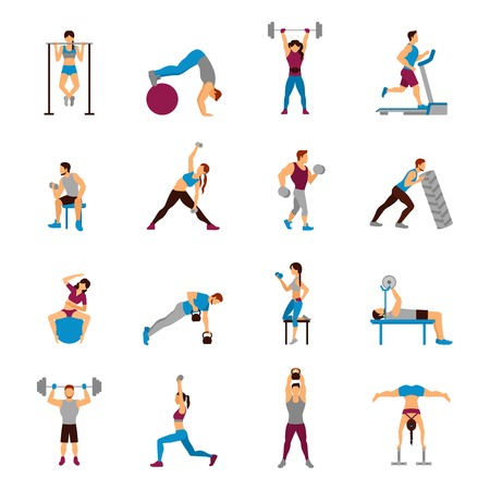 Ilustración de Strength training workout set with flat male and female sporty figures isolated vector illustration - Imagen libre de derechos