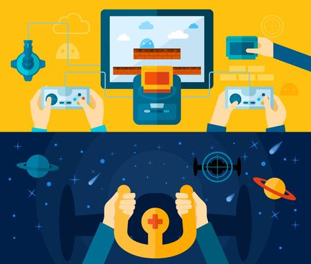 Illustration pour Video game horizontal banner set with hands holding console devices isolated vector illustration - image libre de droit