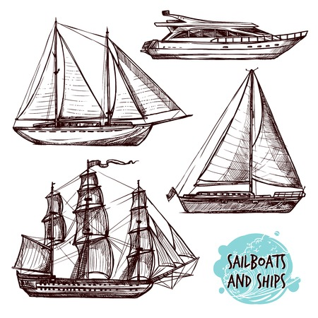 Ilustración de Hand drawn retro sail ships and speed boat set isolated vector illustration - Imagen libre de derechos