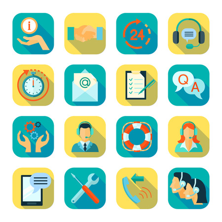 Illustration pour Flat style color icons set of remote technical assistance customer support and 24 hour monitoring isolated vector illustration - image libre de droit