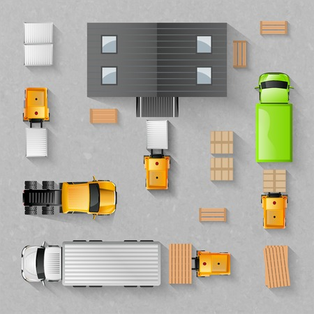 Illustration pour Warehouse concept with top view trucks and buildings isolated vector illustration - image libre de droit