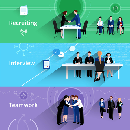 Illustration pour Human resources personnel recruiting interview and teamwork 3 flat horizontal banners abstract slant shadow isolated vector illustration - image libre de droit