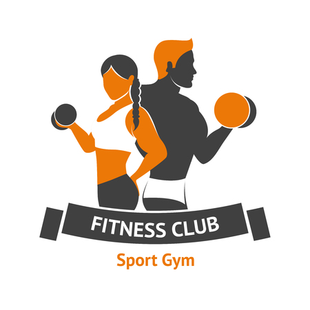 Ilustración de Fitness club logo template with male and female silhouettes with dumbbells vector illustration - Imagen libre de derechos