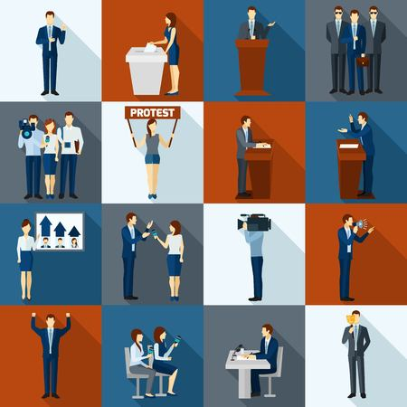Illustration pour Politics and government election flat icons set isolated vector illustration - image libre de droit