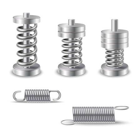 Illustration for Realistic silver shiny metal springs compression devices isolated vector illustration - Royalty Free Image