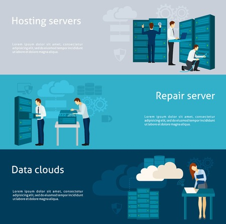 Illustration pour Datacenter horizontal banner set with hosting servers and data clouds elements isolated vector illustration - image libre de droit