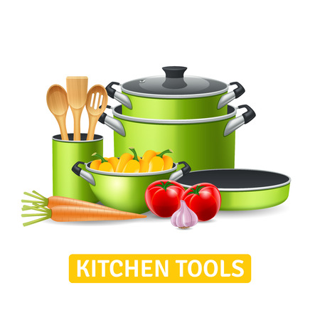 Illustration pour Kitchen tools with vegetables such as onions tomatoes and peppers realistic vector illustration - image libre de droit
