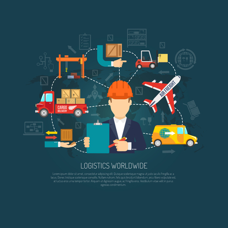 Photo pour Worldwide logistics company services operator coordinating international cargo transportation and delivery flowchart background poster abstract vector illustration - image libre de droit