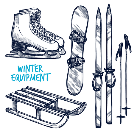Illustration pour Sketch winter sport objects with hand drawn ski sled and snowboard isolated vector illustration - image libre de droit