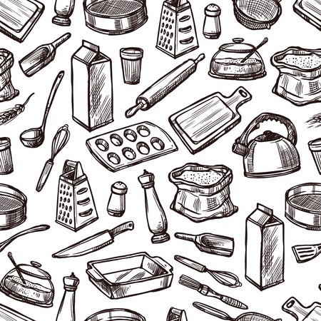 Photo pour Baking seamless pattern with sketch kitchen equipment and tools vector illustration - image libre de droit