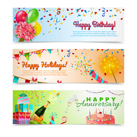Illustration for Happy anniversary birthday party celebration in holidays season 3 horizontal festive colorful decorative banners abstract vector illustration - Royalty Free Image