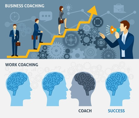 Illustration for Business coaching as a way to quick success two horizontal flat banners set poster abstract vector illustration - Royalty Free Image