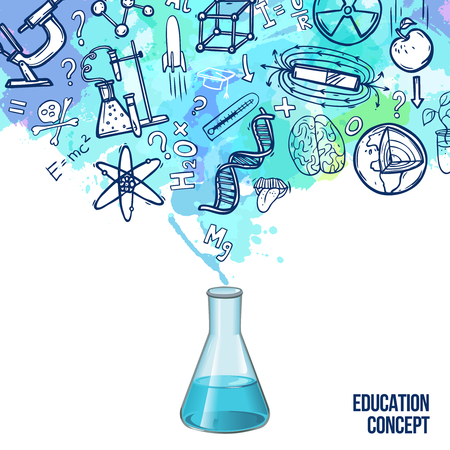 Illustration pour Education concept with realistic lab flask and sketch science symbols vector illustration - image libre de droit