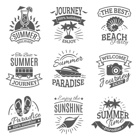 Illustration pour Summer holiday travel agencies labels set with best journeys to tropical beach black abstract isolated vector illustration - image libre de droit