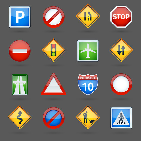 Illustration pour Basic road traffic regulatory signs symbols collection glossy pictograms collection for website poster abstract vector isolated illustration - image libre de droit
