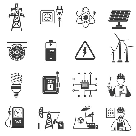 Illustration pour Oil and gas industry energy power production and transmitting symbols black icons set abstract vector isolated  illustration - image libre de droit