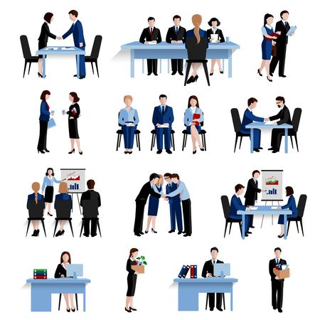 Illustration pour Human resources personnel selection interviewing recruitment and training strategy flat icons  composition set abstract isolated vector illustration - image libre de droit