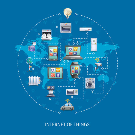 Ilustración de Internet of things iot world  innovative ideas poster with home appliances remote control schema abstract vector illustration - Imagen libre de derechos