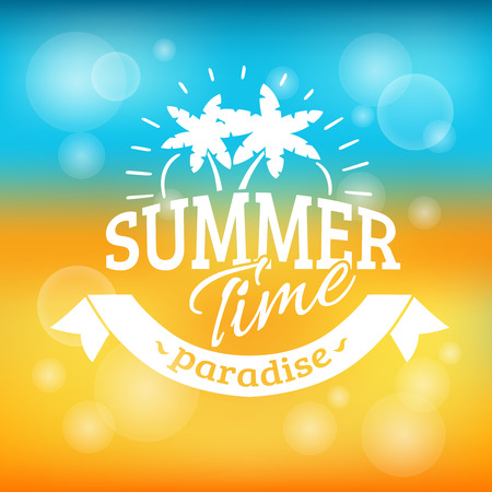 Illustration for Summer time vacation paradise travel agency advertisement background poster with sand beach and sea abstract vector illustration - Royalty Free Image