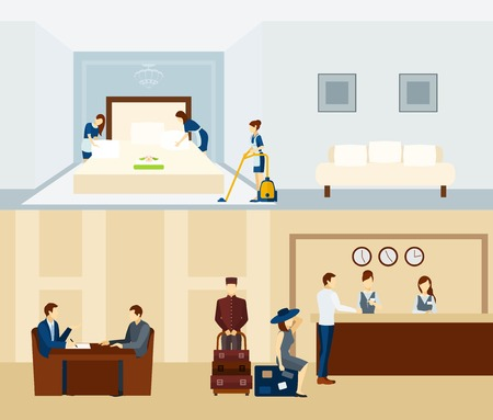 Illustration pour Hotel staff horizontal banner set with reception and room staff isolated vector illustration - image libre de droit