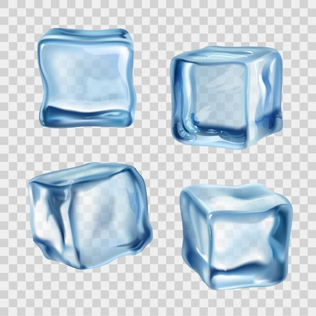 Illustration pour Realistic blue solid ice cubes on transparent background vector illustration - image libre de droit