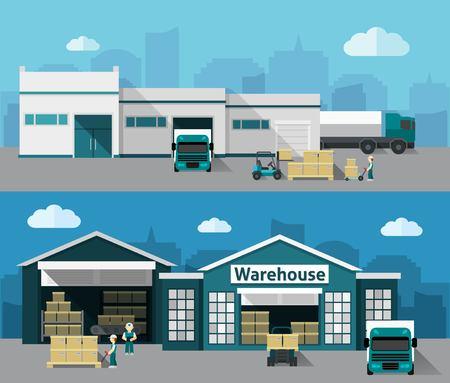Ilustración de Warehouse building and shipping process flat horizontal banner set isolated vector illustration - Imagen libre de derechos