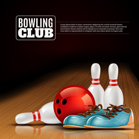 Indoor bowls club poster for members and visitors with shoes ball and pins realistic colorful vector illustration