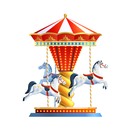 Illustration pour Realistic retro carousel with three colored horses isolated on white background vector illustration - image libre de droit