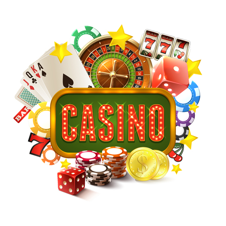 Illustration for Casino frame with realistic gambling and game of fortune icons set vector illustration - Royalty Free Image