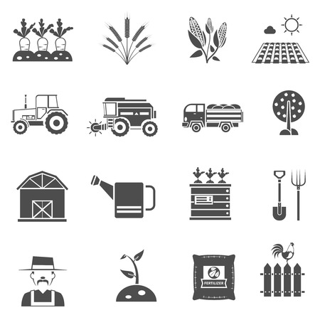 Illustration pour Agriculture farm and garden black icons set isolated vector illustration - image libre de droit