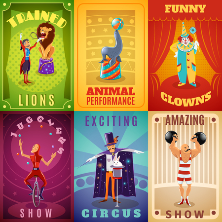 Ilustración de Travelling circus amazing show announcement 6 flat banners composition with trained animals performance abstract isolated vector illustration - Imagen libre de derechos