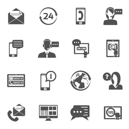 Illustration pour Contact us service line black icons set isolated vector illustration - image libre de droit