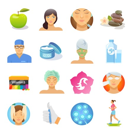 Illustration pour Rejuvenation and skin care flat icons set isolated vector illustration - image libre de droit