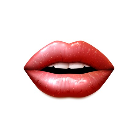 Illustration for Realistic female open mouth with lips covered with shiny gloss vector illustration - Royalty Free Image