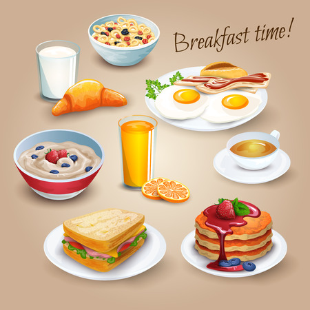 Illustration for Classical hotel breakfast menu poster with fried eggs bacon and orange juice realistic pictograms composition vector illustration - Royalty Free Image