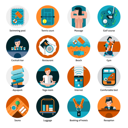 Hotel offers and facilities round icons set with sports recreation and health care flat isolated vector illustration