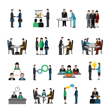 Illustration for Teamwork icons set with business people characters isolated vector illustration - Royalty Free Image