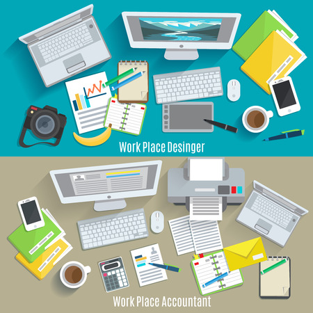 Illustration pour Designer and accountant work place horizontal banner set isolated vector illustration - image libre de droit