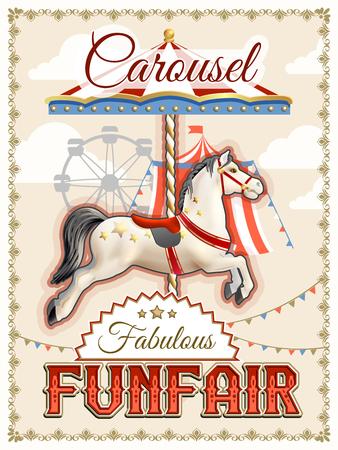 Illustration pour Retro funfair or amusement park poster with carousel horse vector illustration - image libre de droit