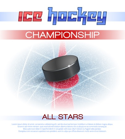 Illustration for Ice hockey sport championship promo poster with realistic puck vector illustration - Royalty Free Image