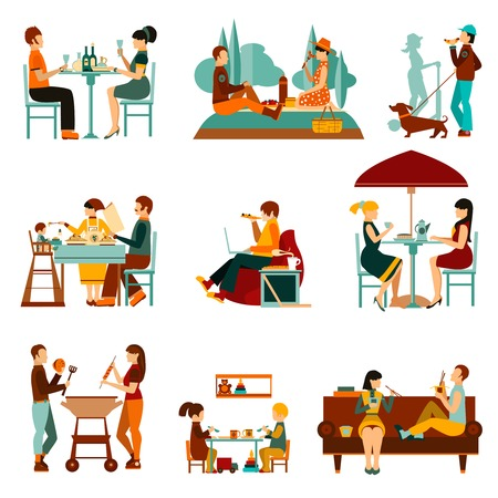 Illustration pour People eating out and an homes flat icons set isolated vector illustration - image libre de droit
