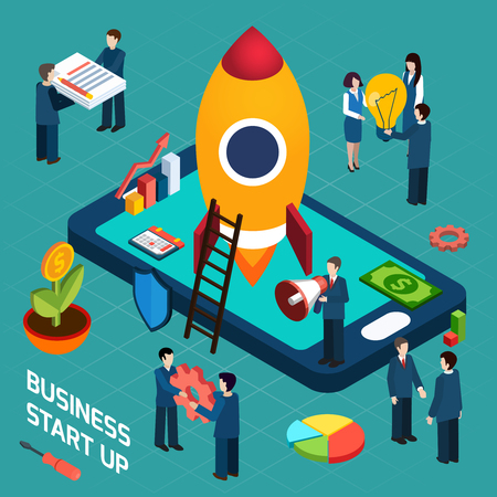 Illustration pour New business startup company successful launch planning concept with rocket start symbol poster isometric abstract vector illustration - image libre de droit