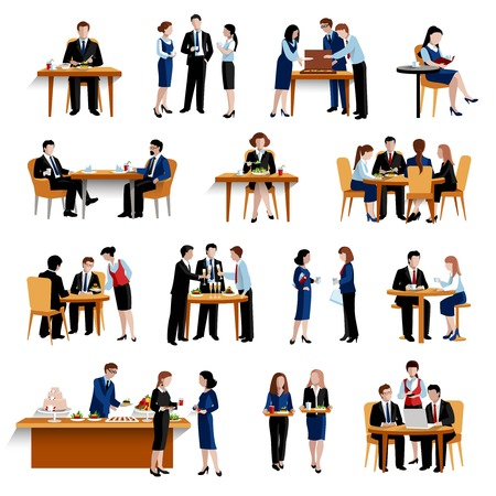 Illustration pour Business office lunch break pause as successful personnel productivity boosting  flat icons collection abstract isolated vector illustration - image libre de droit