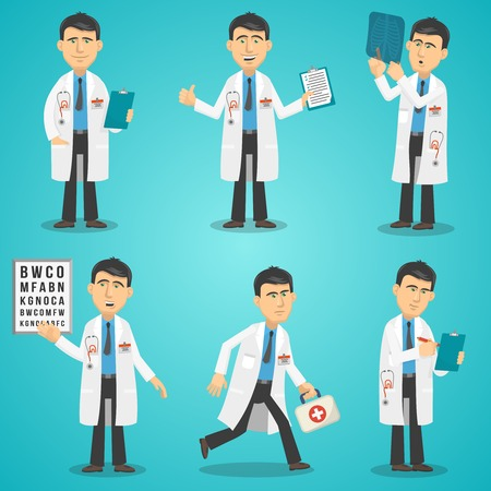 Illustration pour Male doctor character set with test results x-ray and first aid kit isolated vector illustration - image libre de droit